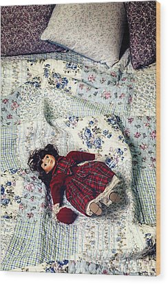 Doll On Bed Wood Print by Joana Kruse