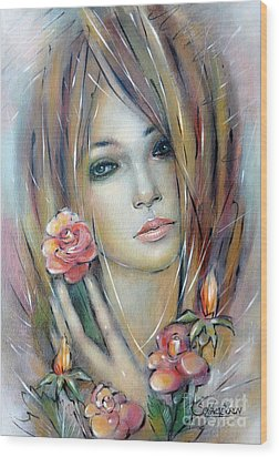 Wood Print featuring the painting Doll With Roses 010111 by Selena Boron
