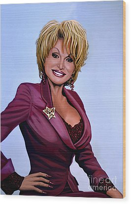 Dolly Parton Wood Print by Paul Meijering