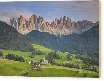 Dolomites From Val Di Funes Wood Print by Brian Jannsen