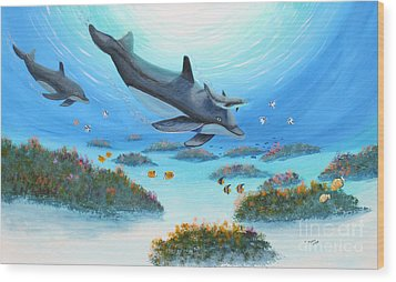 Wood Print featuring the painting Dolphen Moves by Myrna Walsh