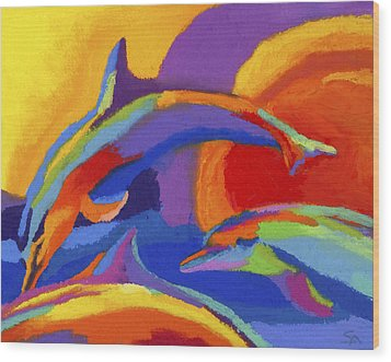 Dolphin Dance Wood Print by Stephen Anderson