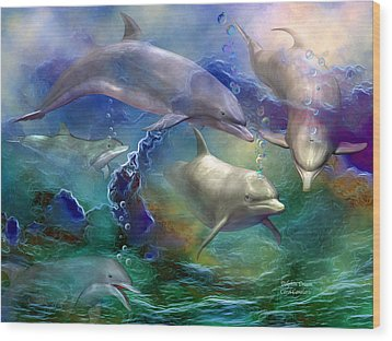 Dolphin Dream Wood Print by Carol Cavalaris