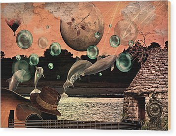 Wood Print featuring the mixed media Dolphin Dreams by Ally  White