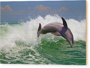 Wood Print featuring the digital art Dolphin Flip by Kara  Stewart