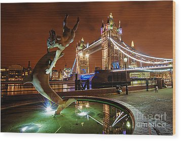 Dolphin Fountain Tower Bridge London Wood Print by Donald Davis
