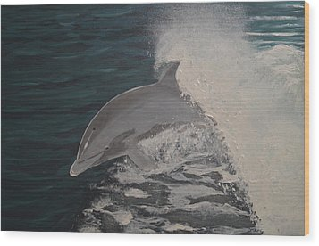 Dolphin In The Wake Wood Print by Zilpa Van der Gragt