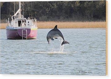 Dolphin Jumping In Taylors Creek Wood Print