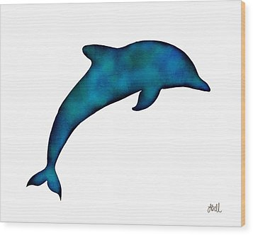 Wood Print featuring the painting Dolphin by Laura Bell