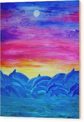 Dolphin Sunset Wood Print by Sheri Salin