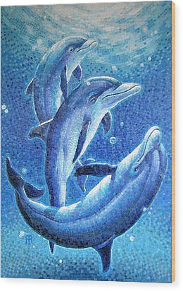 Wood Print featuring the painting Dolphin Trio by Mia Tavonatti