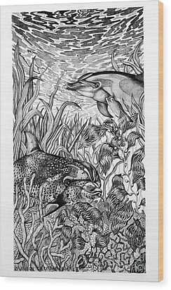 Wood Print featuring the drawing Dolphins At Play by Alison Caltrider