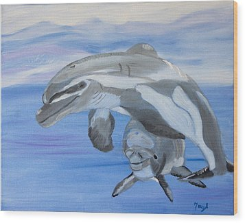 Sublime Dolphins Wood Print