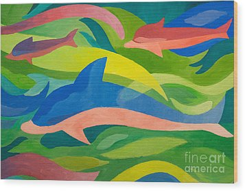 Dolphins Painting Wood Print