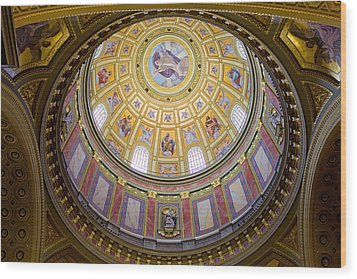 Dome Interior Of The St Stephen Basilica In Budapest Wood Print by Artur Bogacki