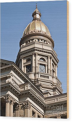 Dome On Capital Wood Print by Lawrence Burry