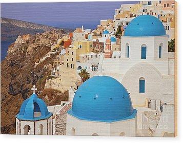 Domes Of Santorini Wood Print by Brian Jannsen