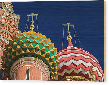 Domes Of Vasily The Blessed Cathedral - Feature 3 Wood Print by Alexander Senin