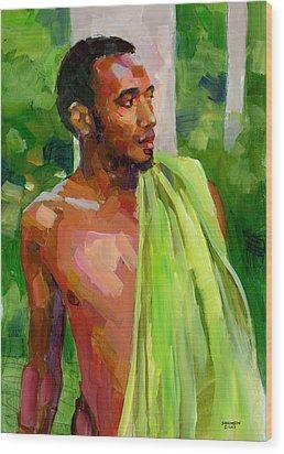 Dominican Boy With Towel Wood Print by Douglas Simonson