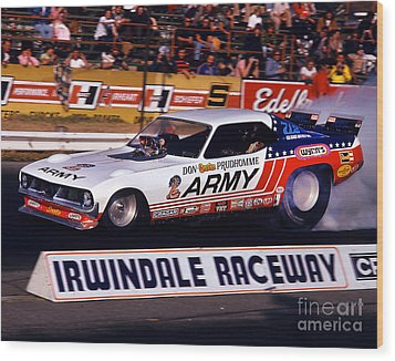 Don The Snake Prudhomme Irwindale Raceway 1970s Wood Print by Howard Koby