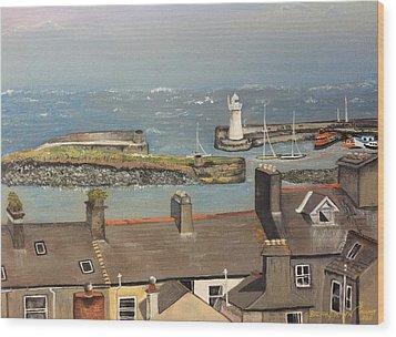 Wood Print featuring the painting Donaghadee Ireland Irish Sea by Brenda Brown