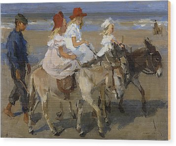 Donkey Rides Along The Beach Wood Print