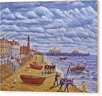 Donkey Rides On Blackpool Beach Wood Print by Ronald Haber