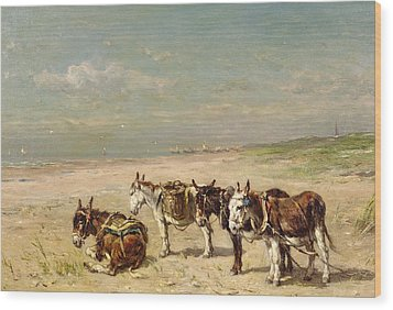 Donkeys On The Beach Wood Print by Johannes Hubertus Leonardus de Haas