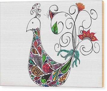 Doodle Bird Wood Print by Lori Thompson