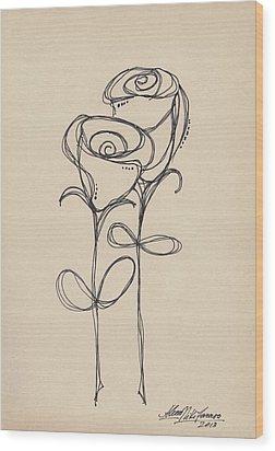 Doodle Roses Wood Print