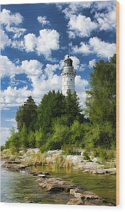 Cana Island Lighthouse Cloudscape In Door County Wood Print
