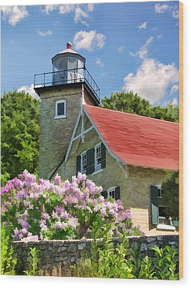 Door County Eagle Bluff Lighthouse Lilacs Wood Print