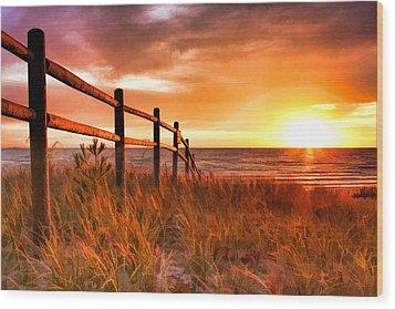 Door County Europe Bay Fence Sunrise Wood Print