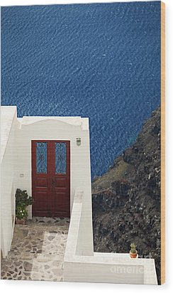 Door Facing The Aegean Sea Wood Print by Aiolos Greek Collections