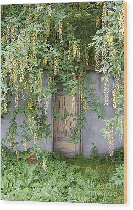 Wood Print featuring the photograph Door Hidden By Flowers by Linda Prewer