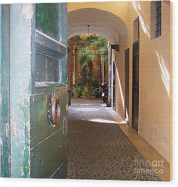 Door In Florence Wood Print by Debby Pueschel