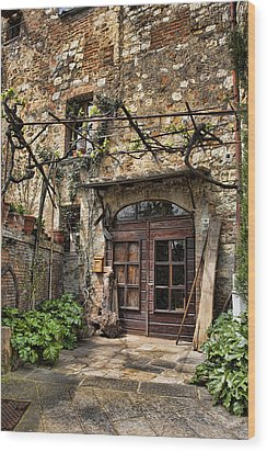 Wood Print featuring the photograph Door Montepulciano Italy by Hugh Smith