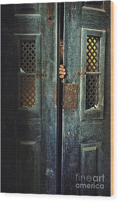 Door Peeking Wood Print by Carlos Caetano
