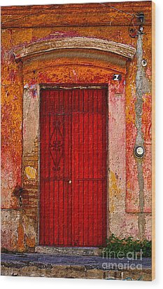 Wood Print featuring the photograph Door Series - Red by Susan Parish