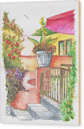 Door With A Flower Pot In Venice Beach - California Wood Print