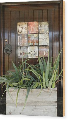 Door With A Message Wood Print by Leana De Villiers