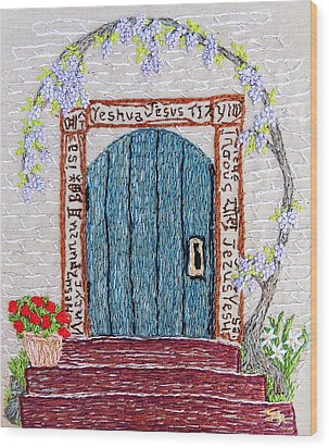 Door With Many Languages Wood Print by Stephanie Callsen