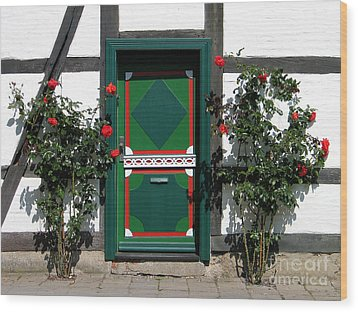 Wood Print featuring the photograph Door With Roses by Art Photography