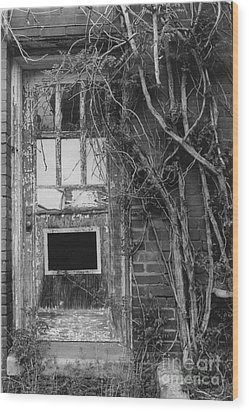 Door With Vines Wood Print by Michelle OConnor