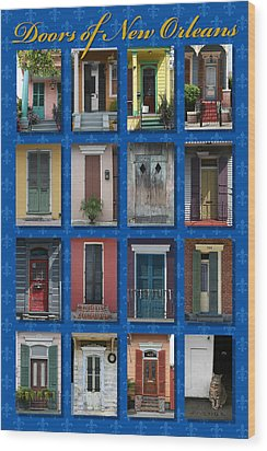 Doors Of New Orleans Wood Print