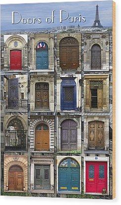 Doors Of Paris Wood Print by Heidi Hermes