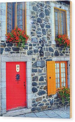 Doors Of Quebec 2 Wood Print by Mel Steinhauer