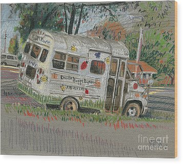 Wood Print featuring the painting Doodlebugs Bus by Donald Maier