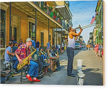 Doreen's Jazz New Orleans - Paint Wood Print