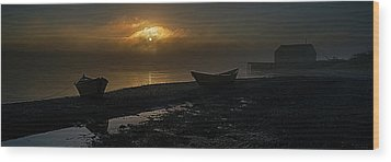 Wood Print featuring the photograph Dories Beached In Lifting Fog by Marty Saccone